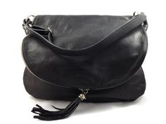 Sissy - Womens Black Genuine Leather #Handbag Magnetic closure and adjustable shoulder strap Inside - Two zipper pockets and mobile phone pocket Color: #Black Measurements (cm) - L40 x H 34 x W 17 Genuine Italian #Leather Made in Italy. gvgbags.com