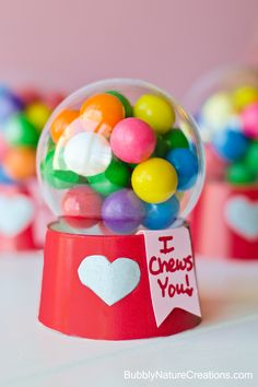 """I Chews You"" Mini Bubblegum Machine Valentines {Tutorial} ~ Made with a paper cup and a plastic ball ornament. I'd use gum balls, after all it is a gumball machine. Valentines Day Treats, My Funny Valentine, Valentine Day Love, Valentine Day Crafts, Holiday Crafts, Holiday Fun, Valentine Ideas, Valentine Games, Kids Valentines"