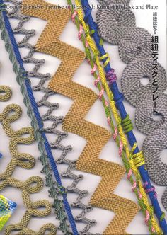 Comprehensive Treatise of Braids VI:  Kumihimo Disk and Plate by Makiko Tada, creator of the hand held disk and plate and she shows us how to use these tools to make Japanese and Andean braids as well as new types of braids that she has designed. The book has excellent photos and graphics to make over 30 braids and instruction on how to turn them into sculptural necklaces and brooches. On the cover you can see braids within braids, flat spirals, use of beads and braids that curve and zigzag.