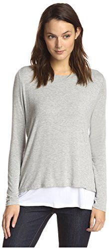 James  Erin Womens Long Sleeve Contrast Layered Top GreyWhite M >>> See this great product.Note:It is affiliate link to Amazon.