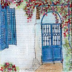 The Garden Gate - a mixed media painting by Gill Tomlinson. Inspired by a… Alleyway, Mixed Media Painting, Garden Gates, Greece, Bar, Inspired, Canvas, Greece Country, Tela