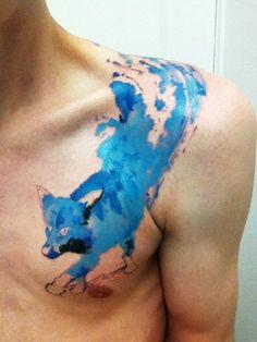 Watercolor tattoo blue fox