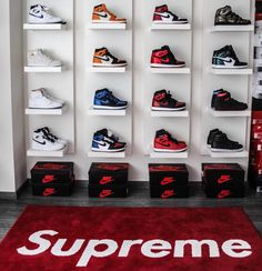 Full range of Nike Air Jordans available DM us if you are looking for a pair . Shoe Wall, Shoe Room, Shoe Closet, Sneaker Storage, Shoe Storage, Zapatillas Jordan Retro, Hypebeast Room, Shoe Display, Hype Shoes
