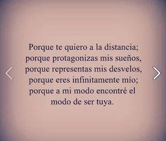 〽️ Porque te quiero a la distancia, porque protagonizas mis sueños...