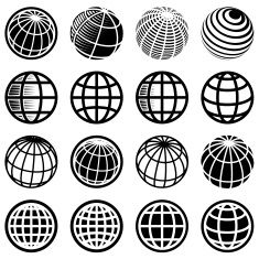 Abstract Globe and global communications royalty free vector icon set vector art illustration