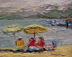 Palette Knife Painters: Beach Umbrellas by Arlon Rosenoff