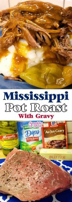 An easy peasy gravy makes a silky, scrumptious, and divine addition to this fork tender Mississippi Pot Roast recipe that broke the internet. Hits it out of the park every time! A few squeezes of the tongs, and this roast literally falls apart. #comfortfood #beefrecipe #crockpot #instantpot