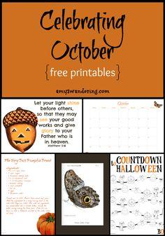 Celebrating October - Halloween & Reformation Day countdowns, nature observation calendar, Bible verse, poems, vintage prints & more {subscriber FREEBIE}