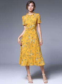 Short Sleeve Floral Print Button Front A-Line Dress OASAP.com