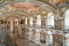Library of Admont Abbey in Admont, Austria. It is the largest monastery library of the world. EA.