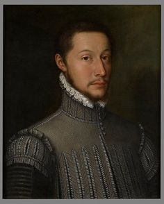 The Monogrammist GR  (Active Nuremberg c. 1550 – 1570)        Portrait of a Nobleman, Bust Length, Wearing a Doublet and a White Lace Collar      Signed and dated upper left: GR / Anno 1556     Oil on canvas