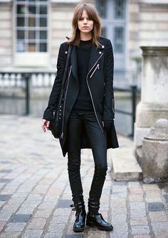 winter silhouettes - skinny pants -boots Knee length coat -fitted crew neck sweater - all black