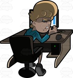 A man clenching his fists in anger while using the computer #aggravated #angered #angry #blonde #blueeyed #blueeyes #cartoon #computer #computerchair #CPU #desk #desktop #desktopcomputer #distressed #emotion #emotional #enraged #ergonomicchair #furious #furrowed #grownup #hotunderthecollar #individual #infuriated #irate #ireful #keyboard #LEDscreen #livid #mad #maddened #male #maleperson #man #monitor #mouse #outraged #pressure #pressured #provoked #rage #raging #seated #single #sit…