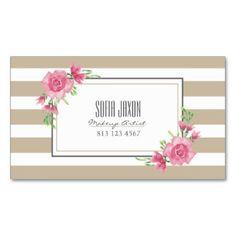Beige floral 01 de la tarjeta de visita del