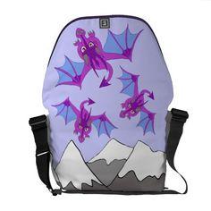 dragons in whimsical sky Rickshaw messenger bag Courier Bag
