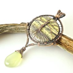 Wire Wrapped Tree of Life Pendant Serpentine by CBGJewelryDesigns
