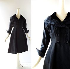 50s Black Dress / New Look Dress / Coat Dress by SmallEarthVintage