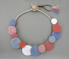Necklace Circles Crochet Necklace Summer Fashion by stasiSpark (Diy Necklace Statement)This item is unavailable Textile Jewelry, Fabric Jewelry, Diy Jewelry, Jewelery, Handmade Jewelry, Jewelry Making, Summer Necklace, Blue Necklace, Diy Necklace