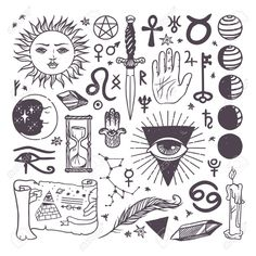 Set of trendy vector esoteric symbols collection sketch hand. - - Set of trendy vector esoteric symbols collection sketch hand. Tattoo – Millions of Creative Stock Photos, Vectors, Videos and Music Files For Your Inspiration and Projects. Kritzelei Tattoo, Occult Tattoo, Doodle Tattoo, Poke Tattoo, Esoteric Tattoo, Witchcraft Tattoos, Kali Tattoo, Wiccan Tattoos, Tattoo Symbols