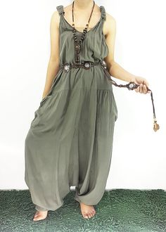 Harem Jumper Pants Rayon olive-green Hippie Jumpsuit by ThaiSaBuy