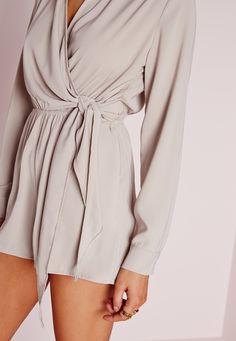 e403592d03a5 Missguided - Wrap Front Shirt Romper Stone Romper Dress