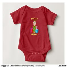 Customizable Baby's First Christmas Cute Little Elf with Presents Baby Body Suit. Lots of colors to choose from