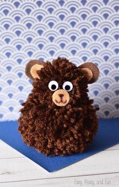 Simple Pom Pom Bear Craft - Easy Peasy and Fun Bear Crafts, Kids Crafts, Crafts To Make, Arts And Crafts, Animal Crafts For Kids, Craft Activities For Kids, Diy For Kids, Yarn Animals, Pom Pom Animals