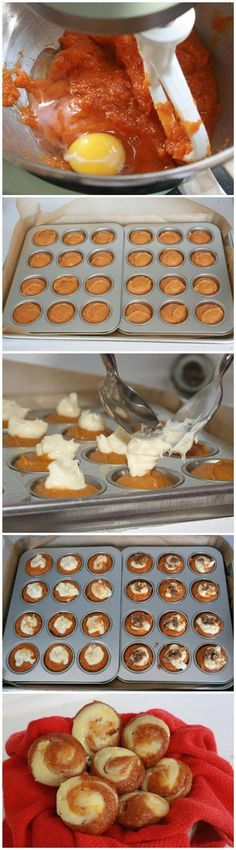 Easy Pumpkin Cheesecake Muffin -- fall is coming! OMG yes! #foods #recipes