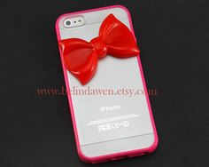 Iphone 5 Case, bow iphone 5 case, hot pink bow, hot pink soft Case, bow iphone case