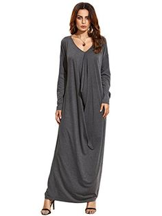 7aa6d98f105 Verdusa Women s Boho Long Sleeve Draped Caftan Casual Loose Long Maxi Dress  Black One Size at Amazon Women s Clothing store