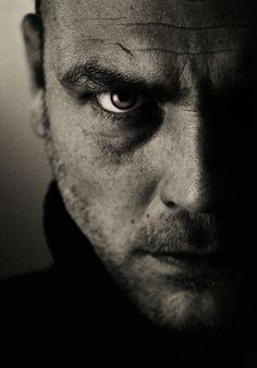 portret...Half gezicht in zwart-wit