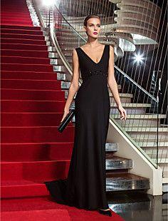 I like this one!!!  Nicks wedding maybe?? Sheath/Column V-neck Sweep/Brush Train Jersey Evening Dress ... – USD $ 89.69