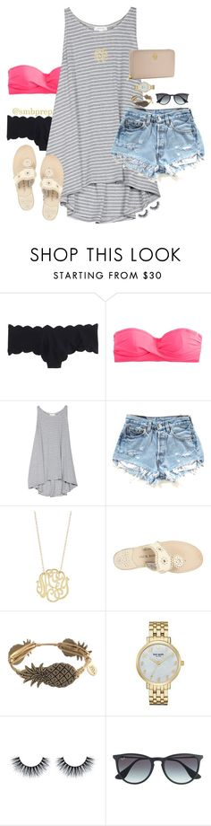 """""""missing those lazy days on the beach"""" by preppy-southern-gals ❤ liked on Polyvore featuring J.Crew, Soft Joie, Ginette NY, Jack Rogers, Bourbon and Boweties, Kate Spade, Ray-Ban and Tory Burch"""