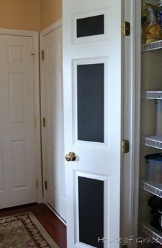 Chalkboard paint on the inside of pantry door to keep track of items needed