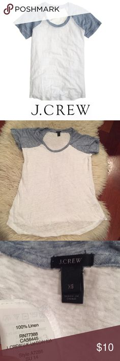 J. Crew Linen White & Blue Baseball Tee J. Crew Linen White & Blue Baseball Tee. Worn a few times. 15.5 inch bust. 24 inches long. Gently worn. Great condition. Feel free to make an offer or bundle & save! J. Crew Tops Tees - Short Sleeve
