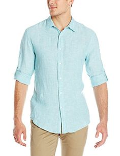 Perry Ellis Men's Rolled Sleeve Solid Linen Shirt, Aqua Sea, Small Perry Ellis http://www.amazon.com/dp/B00RZ26UDM/ref=cm_sw_r_pi_dp_gbdjvb13R7JTZ