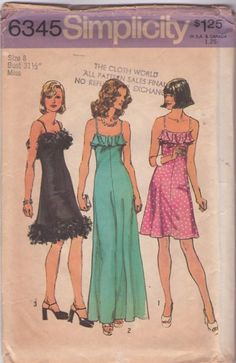MOMSPatterns Vintage Sewing Patterns - Simplicity 6345 Vintage 70's Sewing Pattern AMAZING Maribou Feather Trim Laugh In Dress, Ruffle Top Sun Dress, Maxi Gown
