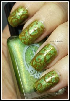 http://www.bettysbeautybombs.com/2014/04/13/green-envy/ / Stamping nail art using China Glaze and Enchanted Polish March 2014