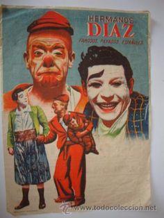 ANTIGUO PROGRAMA CARTEL PAYASOS ESPAÑOLES HERMANOS DIAZ AÑO 1942 ELCHE 17x23 cm