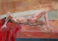 Nude on Orange Bed - Anita Kavaja