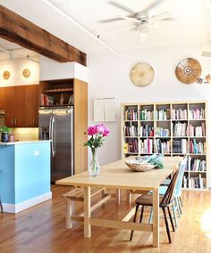 The World's Most Popular Bookcase: Best Uses of the IKEA Expedit   Apartment Therapy: HUGE bookcase & quite the visual statement too!