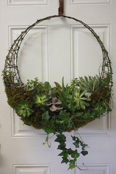 Crescent Succulent Hanging Basket  24 by NaturesHomeDecor on Etsy, $95.00