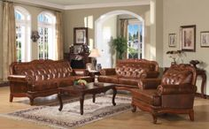 Acme Furniture - Birmingham 3 Piece Living Room Set in Brown - 05945-3SET