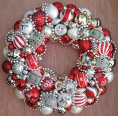 Vintage Ornament Christmas Wreath Shiny Brite 15off by judyblank, $150.00