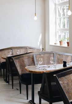 restaurant seating a muted palette for a restaurant design Restaurant Design, Restaurant Seating, Cafe Restaurant, Japanese Restaurant Interior, Restaurant Interiors, Restaurant Furniture, Restaurant Ideas, Hotel Interiors, Cafe Interior
