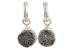 Tiny Hoop Earring w/ Drusy Quartz Charm on OneKingsLane.com