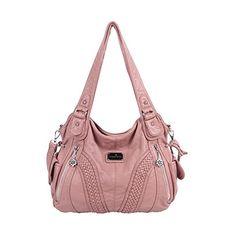 5941306642 Angelkiss Women Top Handle Satchel Handbags Shoulder Bag Messenger Tote  Washed Leather Purses Bag (Pink