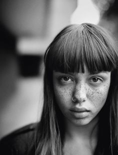 """Emily Bador in """"What's the hardest part of growing up?"""" by Boo George for i-D Magazine, August - Emily Bador in """"What's the hardest part of growing. Beautiful People, Beautiful Women, Unique Faces, Brunette Girl, Black And White Portraits, After Dark, Freckles, Portrait Photography, Hair Beauty"""