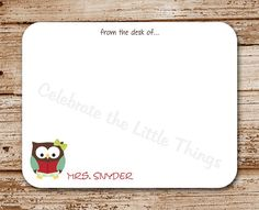 Set of 12 Teacher Note Cards, Notecards | Owl Personalized Stationery | School, Teacher Gift on Etsy, $12.00