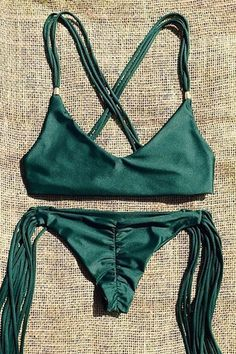 Spaghetti Strap Tassels Green Bikini Set GREEN: Swimwear | ZAFUL